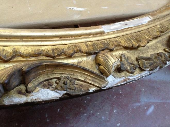 Restauracion espejo dorado isabelino estilo antiguo antiguedades taller molduras limpieza faltas toledo